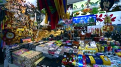 Vietnamese souvenirs at the Famous Ben Thanh Market in Ho Chi Minh City, Vietnam - stock footage