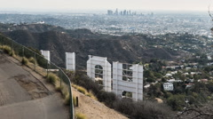 Stock Video Footage of Hollywood Sign Weekend Tourists Zooming Time Lapse in Los Angeles