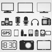 Electronics icons - stock illustration