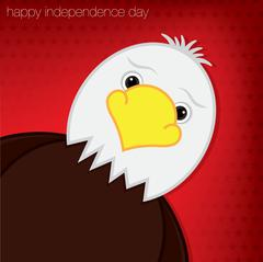 Stock Illustration of Cute cartoon eagle Independence Day card in vector format.