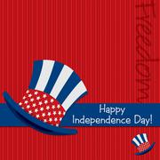 Patriotic Uncle Sam hat 4th of July card in vector format. Stock Illustration