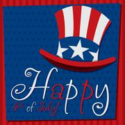 Patriotic Uncle Sam hat 4th of July card in vector format. - stock illustration