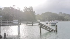 Boats in small bay by the sea Leigh, North Island New Zealand.  Stock Footage