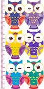 Colorful owls Children height meter wall sticker, kids measure, Growth Chart Stock Illustration