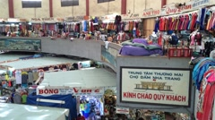 Cho Dam main marketplace interrior in Nha Trang Stock Footage