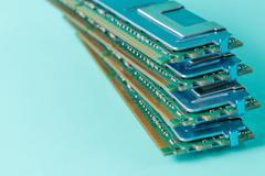 Computer memory modules on the aquamarine background Stock Photos