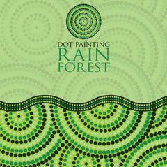 Dot painting invite/ greeting card in vector format. Stock Illustration