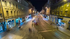 Main street in centre of Sarajevo by night Stock Footage