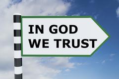 IN GOD WE TRUST concept Stock Illustration