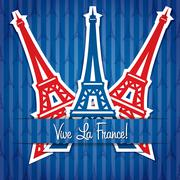 Eiffel tower sticker Bastille Day card in vector format. - stock illustration