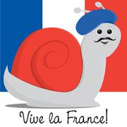 Snail in a beret Bastille Day card in vector format. Stock Illustration