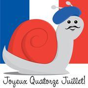 Snail in a beret Bastille Day card in vector format. - stock illustration