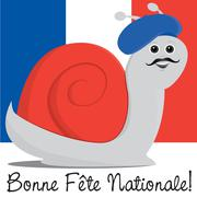 Snail in a beret Bastille Day card in vector format. - stock illustration