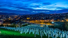 Cemetery Kovaci in Sarajevo at night - stock footage