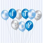 Little Boy blue balloon card in vector format. - stock illustration