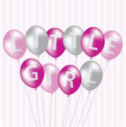 Little Girl pink balloon card in vector format. Stock Illustration