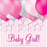 Baby Girl card in vector format. Stock Illustration