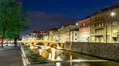 Latin Bridge in Sarajevo at night - stock footage