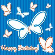 Butterfly birthday card in vector format. - stock illustration