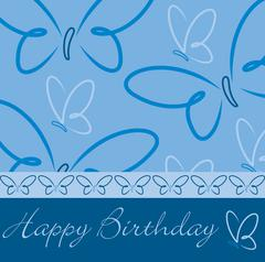 Happy Birthday butterfly card - stock illustration