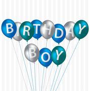Birthday Boy blue balloon card in vector format. - stock illustration
