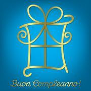 "Bright Italian ""Happy Birthday"" card in vector format. Stock Illustration"