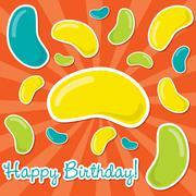 Happy Birthday jelly bean sticker card in vector format. Stock Illustration