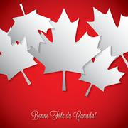 Overlay leaf Canada Day card in vector format. - stock illustration
