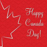 Maple leaf 'Happy Canada Day' card in vector format. Stock Illustration