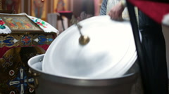 Opening big vat with hot steam water Stock Footage