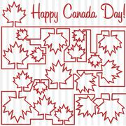 Stock Illustration of Maple leaf maze 'Happy Canada Day' card in vector format.