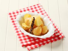 Bowl of potatoes boiled unpeeled - still Stock Photos