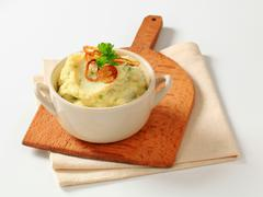 Stock Photo of Mashed potato topped with browned onion