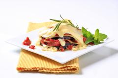 Tomato and aubergine lasagna topped with cheese sauce - stock photo