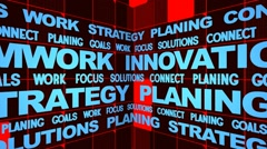 Scrolling business oriented words Stock Footage