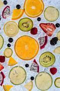 Close up of fruit mix on ice drift - stock photo