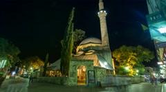 Karadjoz-bey mosque in Mostar by night Stock Footage