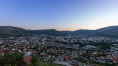 Day to night panorama over Mostar - stock footage