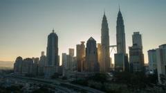Sunrise time lapse at Petronas Twin Towers, Kuala Lumpur - stock footage