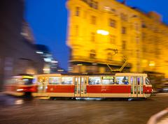 Old tram in motion blur, Prague city, Europe Stock Photos