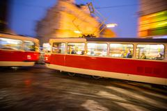 Stock Photo of Old tram in motion blur, Prague city, Europe