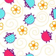 Ladybugs and flowers seamless vector pattern. Stock Illustration