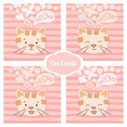 Cat set vector cards Stock Illustration