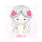 Girl illustration - stock illustration
