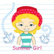 Girl with sea  vector illustration - stock illustration
