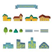 City constructor 3d icons set - stock illustration