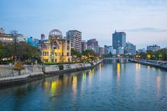 Hiroshima cityscape with the Atomic Dome memorial ruins Stock Photos