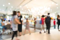 Blur of Defocus Background of Shopping retail store in Plaza Mall - stock photo