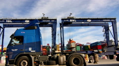 Port Container Trucks Timelapse Stock Footage