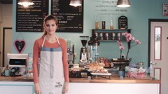 Portrait of Café Small business owner Stock Footage